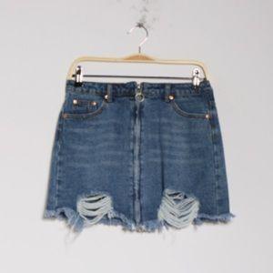 Dance & Marvel zip denim mini skirt